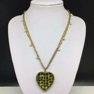 Betsey Johnson Leopard Animal Print Heart Necklace